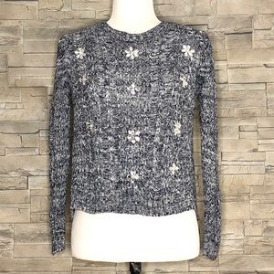 Design History crop navy-white bedazzled sweater